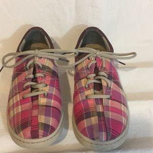 Dansko pink madras plaid sneakers. Think Spring!
